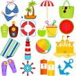 Icons : Beach in the Summer Theme — Stock Vector