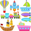 Boat, Ship, Aircraft Vehicles, Transportation — Stock Vector