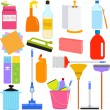Stock Vector: Domestic housework Tools for Washing