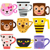 Coffee Cup and Mug with different animal patterns — Stock Vector