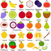 Icons of Fruit Representing Alphabet A to Z — Stock Vector