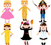 Set of cartoon female kids — Stock vektor