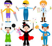 Young boys in cute costumes — Stock Vector