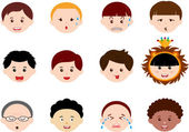 Icons: Heads of Boys, Men, Kids — Stock Vector