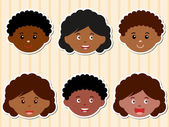 Icons: Heads of African-American Girls, Boys — Stock Vector