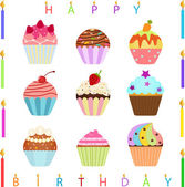 Cute Cupcake with Happy Birthday Candles — Stock Vector