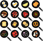 Fried Food In Non-stick Frying Pans — Stock Vector