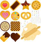 Cookies and Biscuit with a Dough — Stock Vector