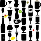A Silhouette vector set of Bottle and Glass — Stock Vector