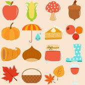 Icons : Autumn, Fall Theme — Stock Vector