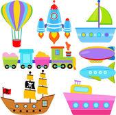 Boat, Ship, Aircraft Vehicles, Transportation — Stock Vector