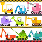 Icons : Tractor, Engineering Vehicles, Transportation — Stock Vector