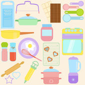 Cooking, Baking Tools in Pastel — Stock Vector