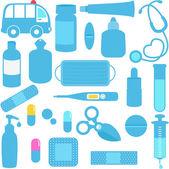 Medicines, Pills, Medical Equipments in Blue — Stock Vector
