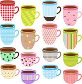 Colección de taza y taza — Vector de stock