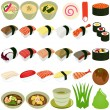 Stock Vector: Food Icons: Japanese Cuisine - Sushi, Soup