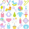 Accessories for Mom and Baby in Pastel — Stockvectorbeeld