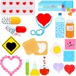 Постер, плакат: Products and Packages with a shape of hear