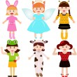 Female kids, young girls in cute costumes  — Stock Vector