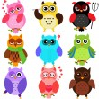 Owls with different characters — Stock Vector #28974189