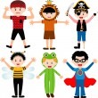 Male kids, young boys in cute costumes  — Stock Vector