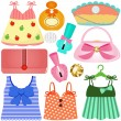 Dresses, Bags, Accessories for girls — Stock Vector
