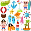 Bear Vector Icons : Summer Theme — Stock Vector