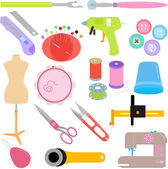 Sewing Tools and Handicraft accessories — Stock Vector