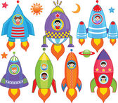 Kids inside Spaceship, Spacecraft, Rocket — Stock Vector