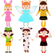 Female kids, young girls in cute costumes — Vector de stock