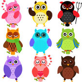 Owls with different characters — Stock Vector