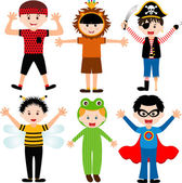 Male kids, young boys in cute costumes — Vector de stock
