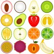 Fresh fruit cut in half isolated on white — Stock Vector #28981157