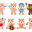 Vector Bears in different positions — Stock Vector