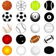 Vector Sports Set : Balls in color and silhouette — ベクター素材ストック