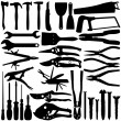 Vector Silhouette - Construction Equipments ,  Tools — Stock Vector