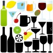 Stock Vector: A Silhouette vector of bottle, glass, container, Cocktail