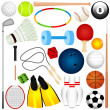 Colorful Vector Sports Set : Balls, exercise equipment — Stock Vector