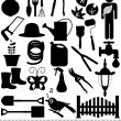 Silhouette - Shovels, Spades, and Garden tools — Vector de stock