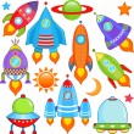 Spaceship, Spacecraft, Rocket, UFO — Stock Vector