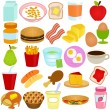 A vector collection of Breakfast and Lunch Ingredients — Stock Vector