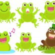 A colorful Theme of cute vector Icons : Frog in the pond — Stock Vector