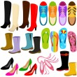 A set of Vector Icons: shoes (boots, high heels, sneakers)  — Stock Vector