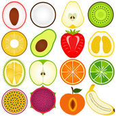 Fresh fruit cut in half isolated on white — Stock Vector