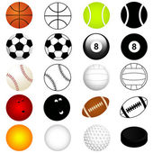Vector Sports Set : Balls in color and silhouette — Stock Vector