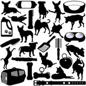 Vector Silhouettes of Dogs, Puppies and Accessories — Stock Vector
