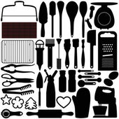 A silhouettes vector collection of Cooking, Baking Tools — Vecteur