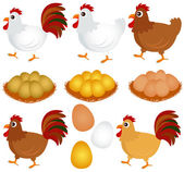Chicken, Hen, Rooster isolated on white — Stock Vector