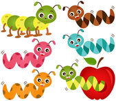 A colorful Theme of cute vector Icons : Worms & Apple — Stock Vector