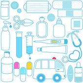 Medicamentos, pastillas, equipos médicos en azul — Vector de stock